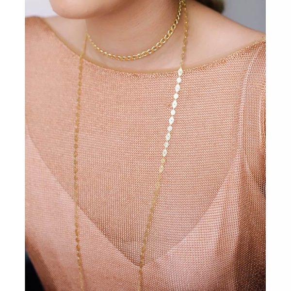Choker-Curb-Chain-din-Argint-Aurit