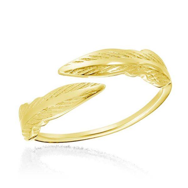 Inel-Twin-Feather-din-Argint-Aurit-01