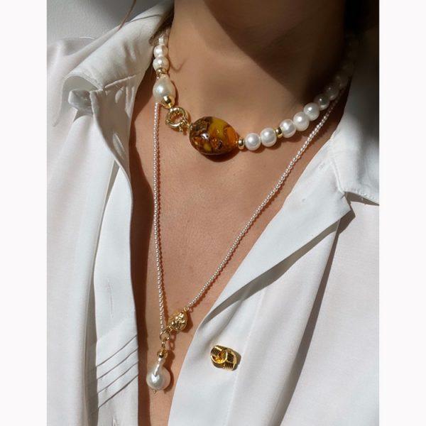 Colier Amber Extravaganza din Argint aurit