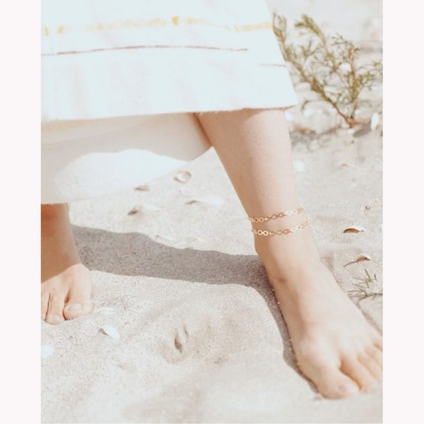 Bratara-de-picior-Straight-Labyrinth-din-Argint-Aurit